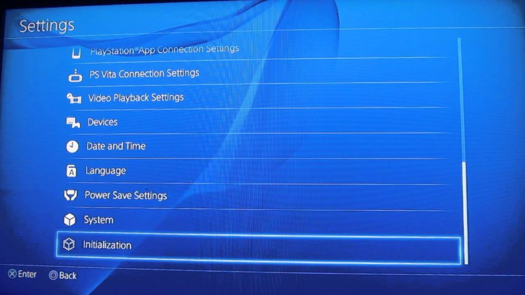 Factory Reset PS4