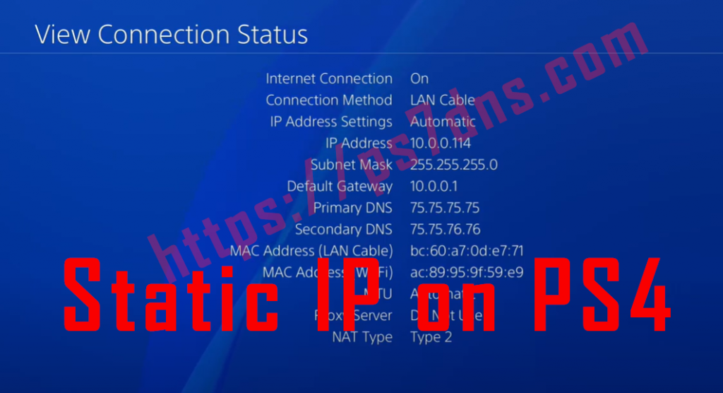 Static IP on PS4