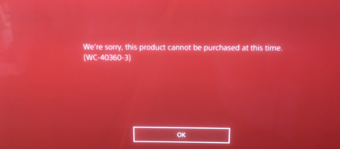 Solution for PS4 Error WC-40360-3