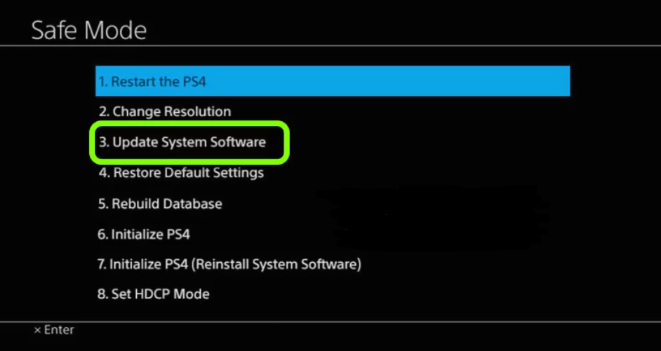 Update PS4 through Safe Mode
