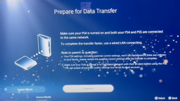 Prepare for Data Transfer from PS5