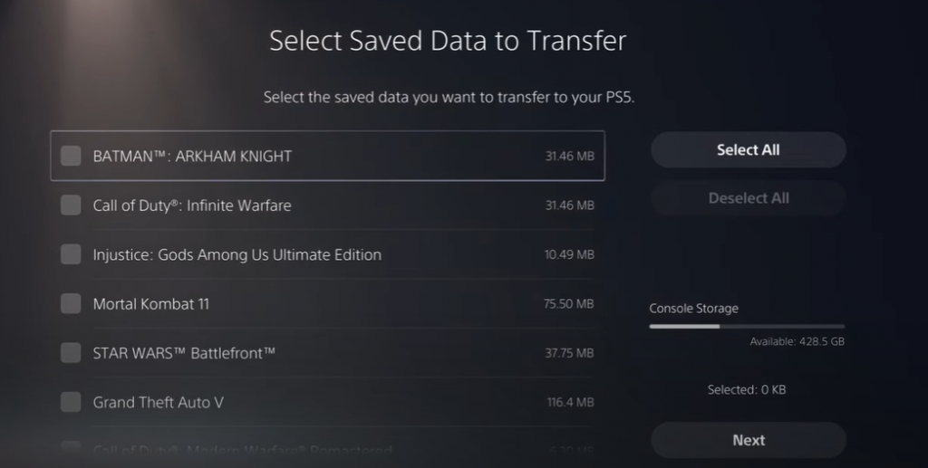 Select Saved Data to Transfer